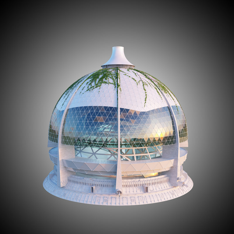 Construction Concrete Dome Home: 3d Dome Building Concrete Model