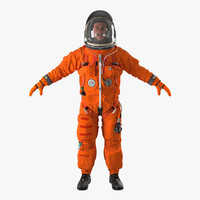 US Astronaut Wearing Advanced Crew Escape Suit ACES Rigged 2