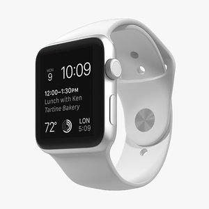 apple watch sport white 3d model