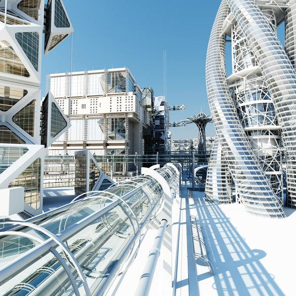 future futuristic architectural 2 3d max