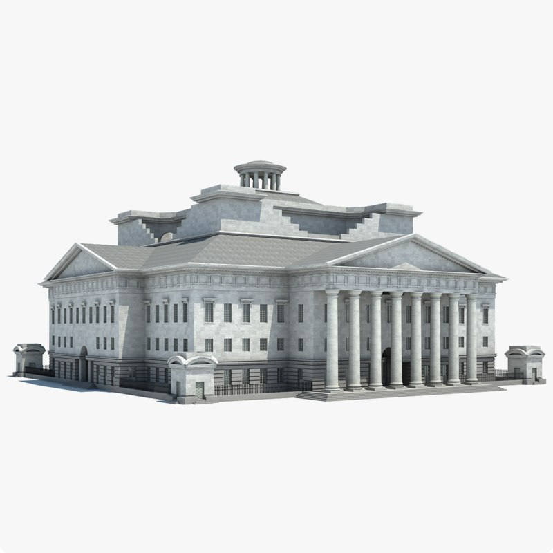 monumental classical style building 3d model