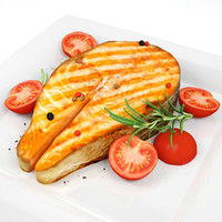 Salmon Steak & Cherie's Tomato