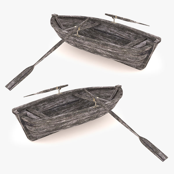 wooden row boat 3ds