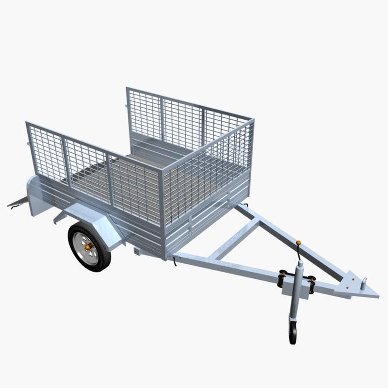 3d model cage trailer 02