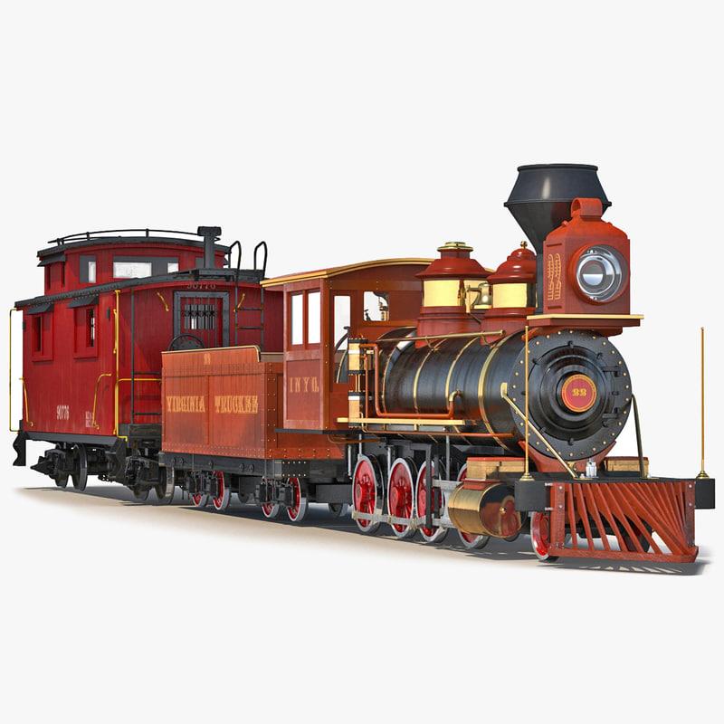 3d model steam train caboose