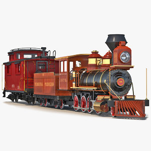 3d model steam train caboose