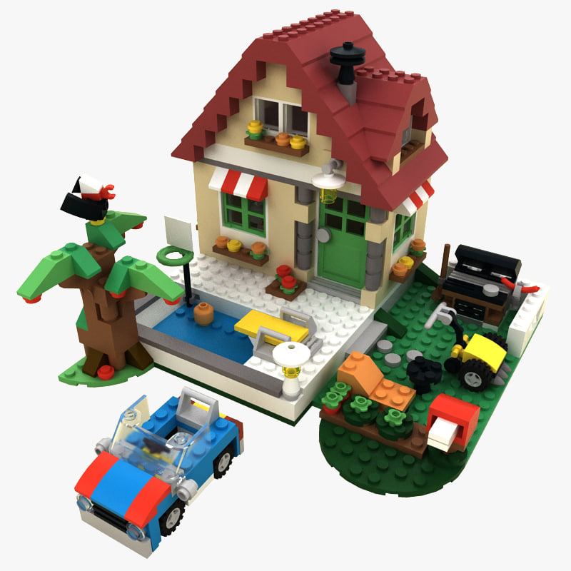 3d lego changing season house model