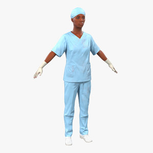 female surgeon african american 3d 3ds