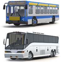 rigged buses bus 3d max