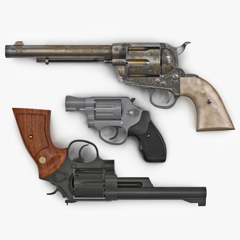 3d revolvers realistic