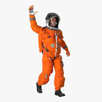 US Astronaut Wearing Advanced Crew Escape Suit ACES Rigged