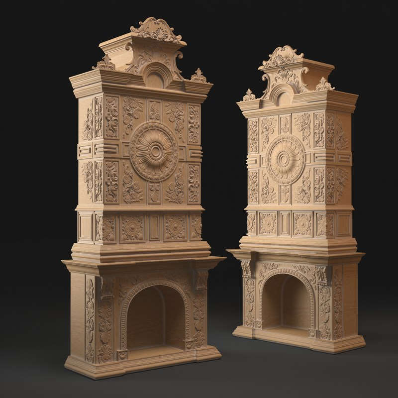 classic fireplace 3d max