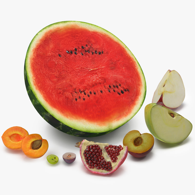 3d 3ds cross section fruits modeled
