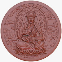 Buddhist monk medal bas relief