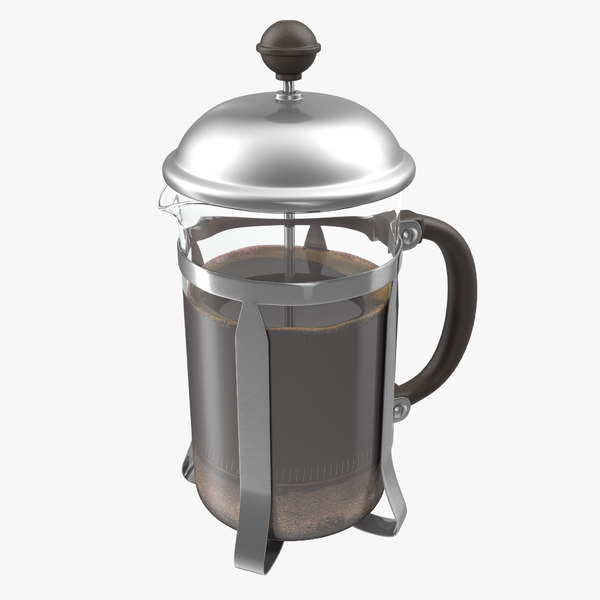 3d model of french press coffee pot