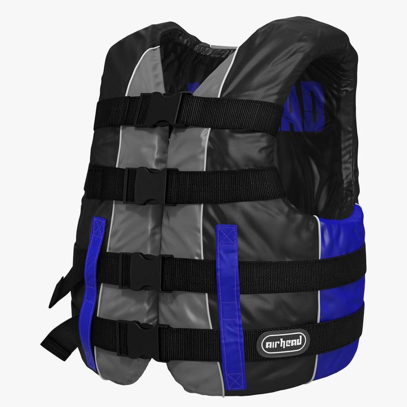 3d model life vest blue