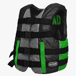 3d life vest green model