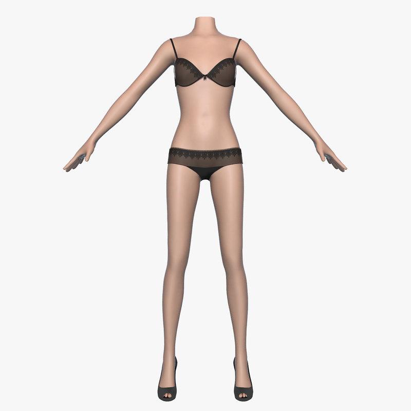 women female bra panties 3d model