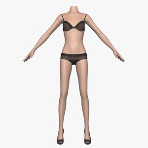 women female bra panties 3d model