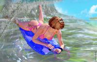 girl body boarding 3d model