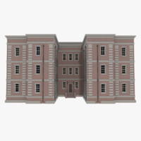 3d brick apartment building interior exterior model