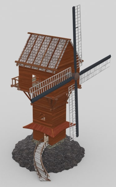 3d model fantasy windmill