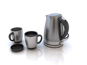 3d electric kettle mugs model