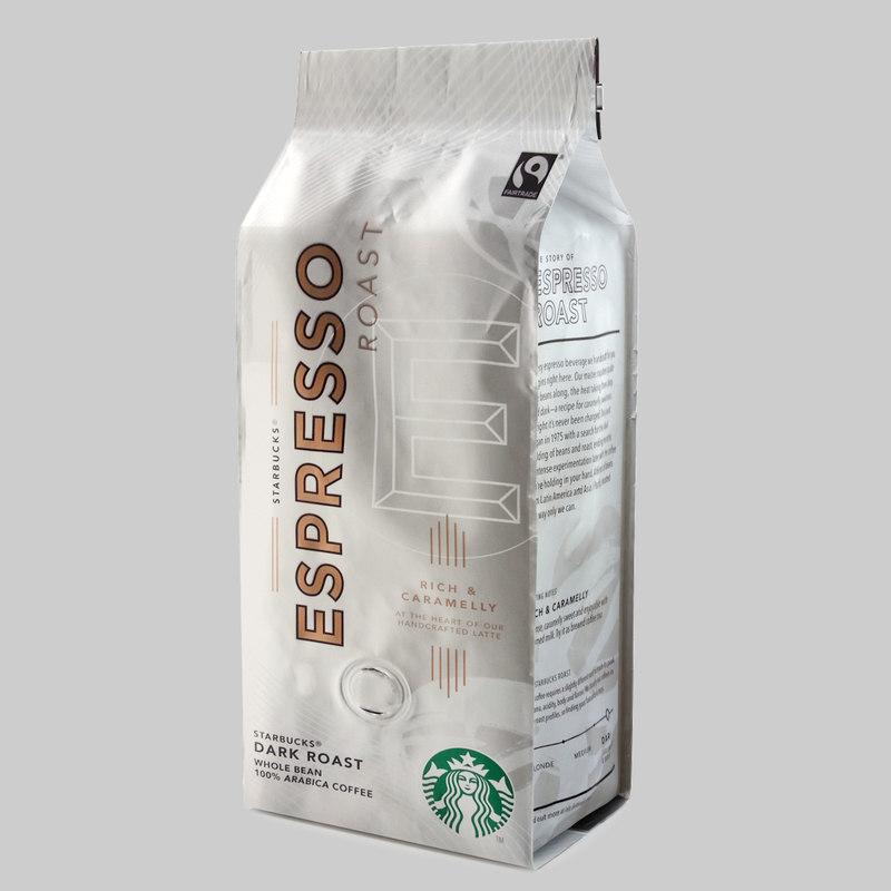 3d model of starbucks coffee packaging