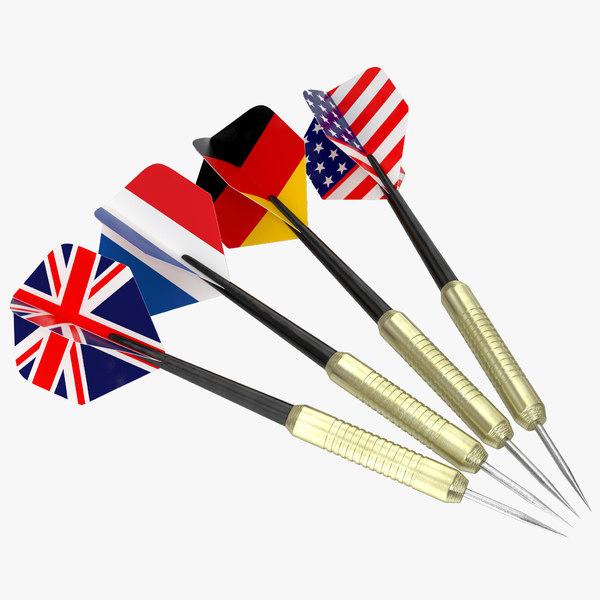 dart needles set modeled 3d model