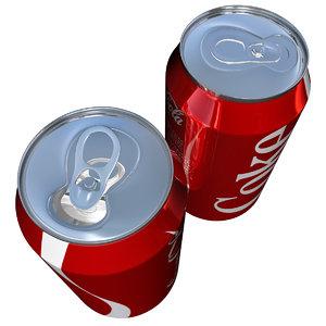 open coke cans 3d model