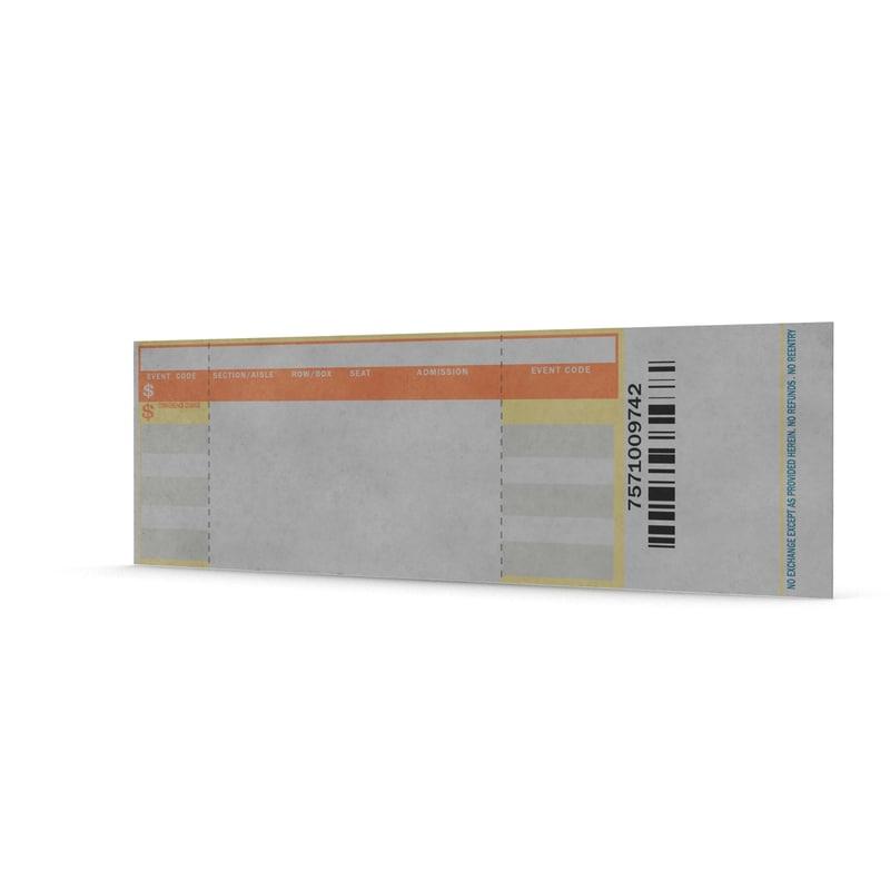 blank concert ticket 3d model