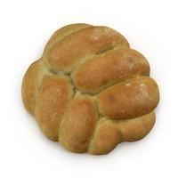 3d model plaited bread roll