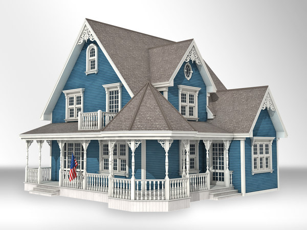 queen victorian style house 3d model