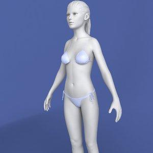 realistic female modeled body character 3d model