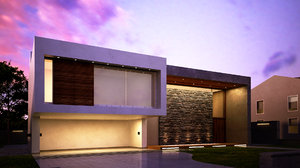 3d residence house garden model