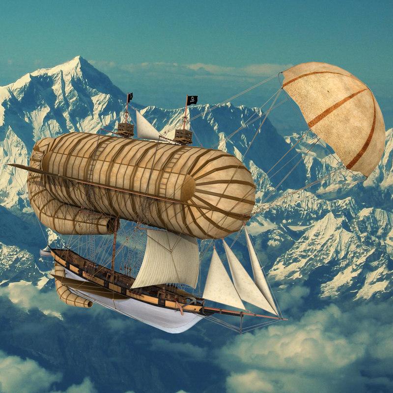 3d fantasy flying ship