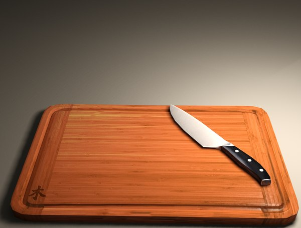 3d kitchen knife chopping board model