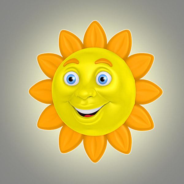 cool cartoon sun 3d model