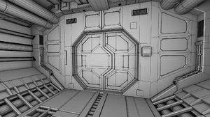 3d spaceship corridor