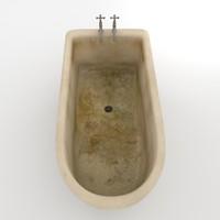 3d model old dirty bath