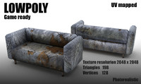 3ds max old damaged sofa grange