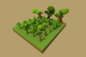 3d model cartoon trees landscapes