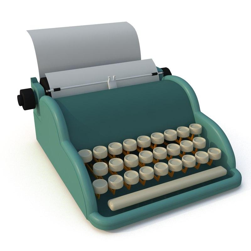 3d cartoon type writer