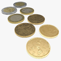 Italian Euro Coins 3D Models Collection 2