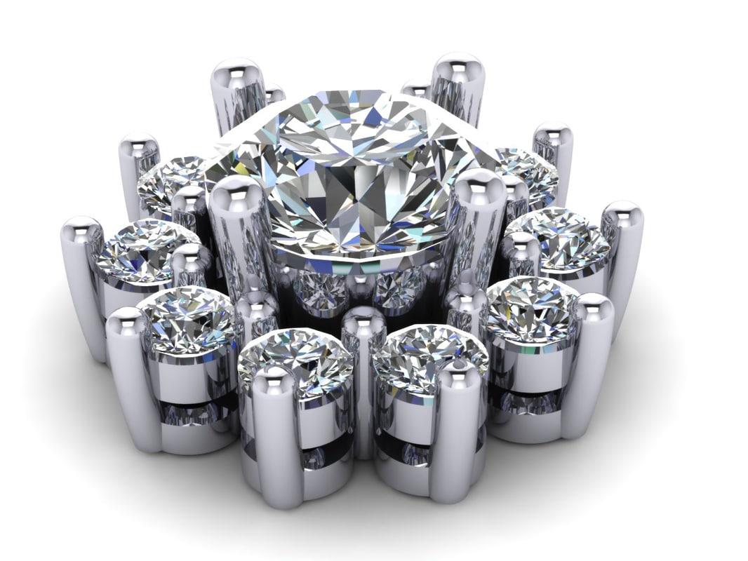 3d model diamond earring