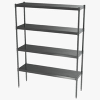 Standing Shelving Unit Stainless Steel 3D Model