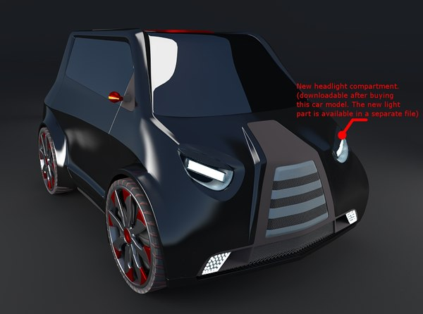 3d model compact electric concept car