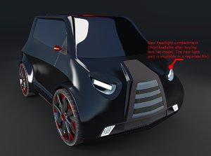 3d model compact electric concept car
