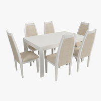 free modern table chairs 3d model