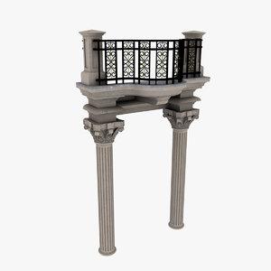 balcony ornate 3d max